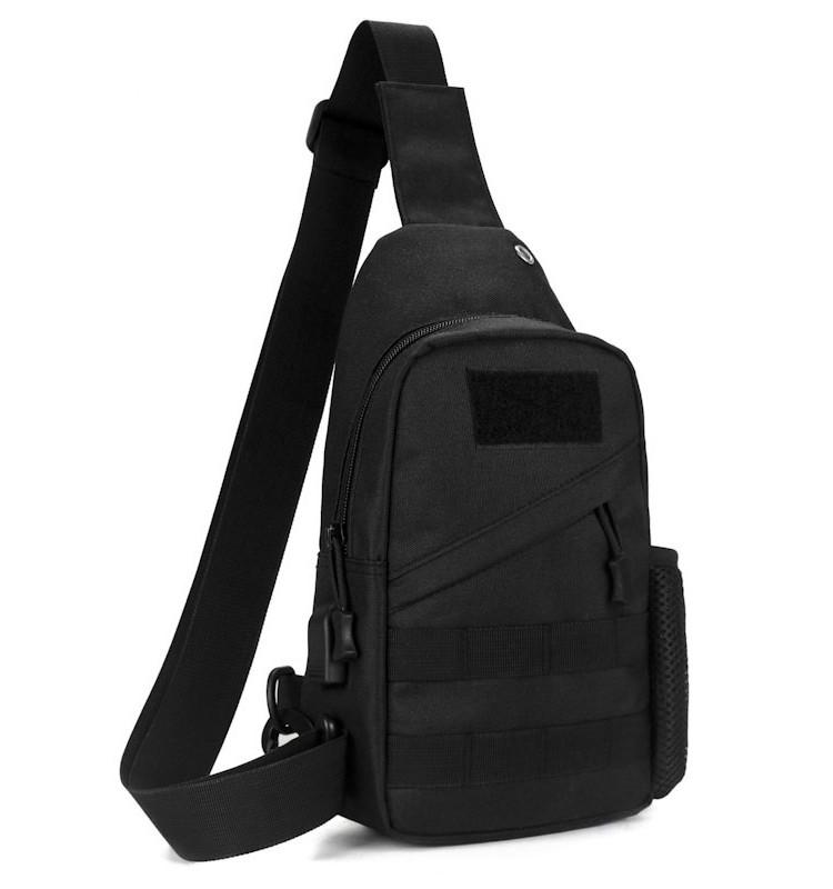 Тактическая сумка-рюкзак, барсетка, бананка на одной лямке, черная. + USB выход