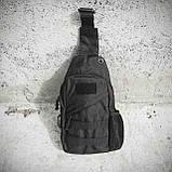 Тактическая сумка-рюкзак, барсетка, бананка на одной лямке, черная. + USB выход, фото 2
