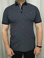 Мужская футболка  поло  темно синий цвет с коротким рукавом из хлопка