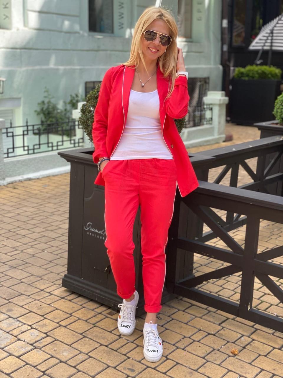 Женский стильный льняной брючный костюм размеры 42-54 красный