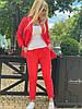 Женский стильный льняной брючный костюм размеры 42-54 красный, фото 2