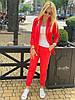 Женский стильный льняной брючный костюм размеры 42-54 красный, фото 3