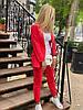 Женский стильный льняной брючный костюм размеры 42-54 красный, фото 4