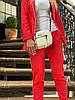 Женский стильный льняной брючный костюм размеры 42-54 красный, фото 6