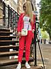 Женский стильный льняной брючный костюм размеры 42-54 красный, фото 8