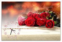 Большие красивые часы на стену для женщин Алые розы 60х90 см