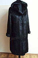 Шуба женская из натурального меха стриженой нутрии длинная с капюшоном р. 42-56 длина 115см