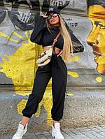 Черный модный женский спортивный костюм