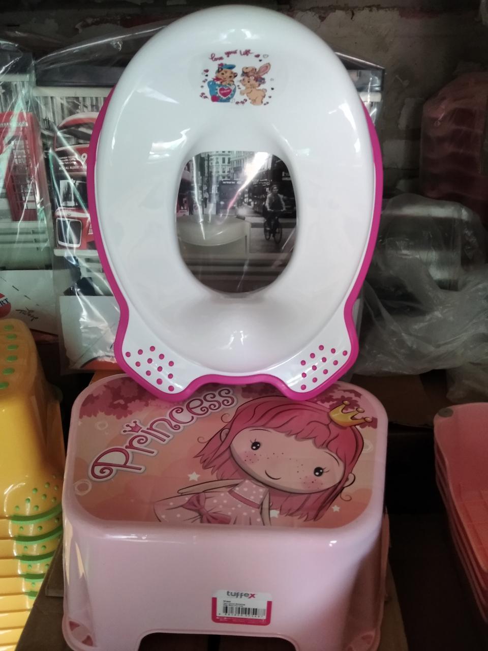 Комплект підставка накладка дитячі для унітазу увывальника, набір сходинка і вставка, Туреччина, рожевий білий