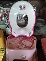 Комплект підставка накладка дитячі для унітазу увывальника, набір сходинка і вставка, Туреччина, рожевий білий, фото 1