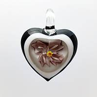 "Кулон LW ""Сердце, фиолетовый цветок"", 31х41х10 мм"