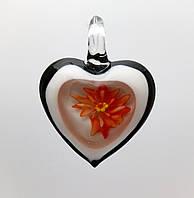 """Кулон LW """"Сердце, оранжевый цветок"""", 31х41х10 мм"""