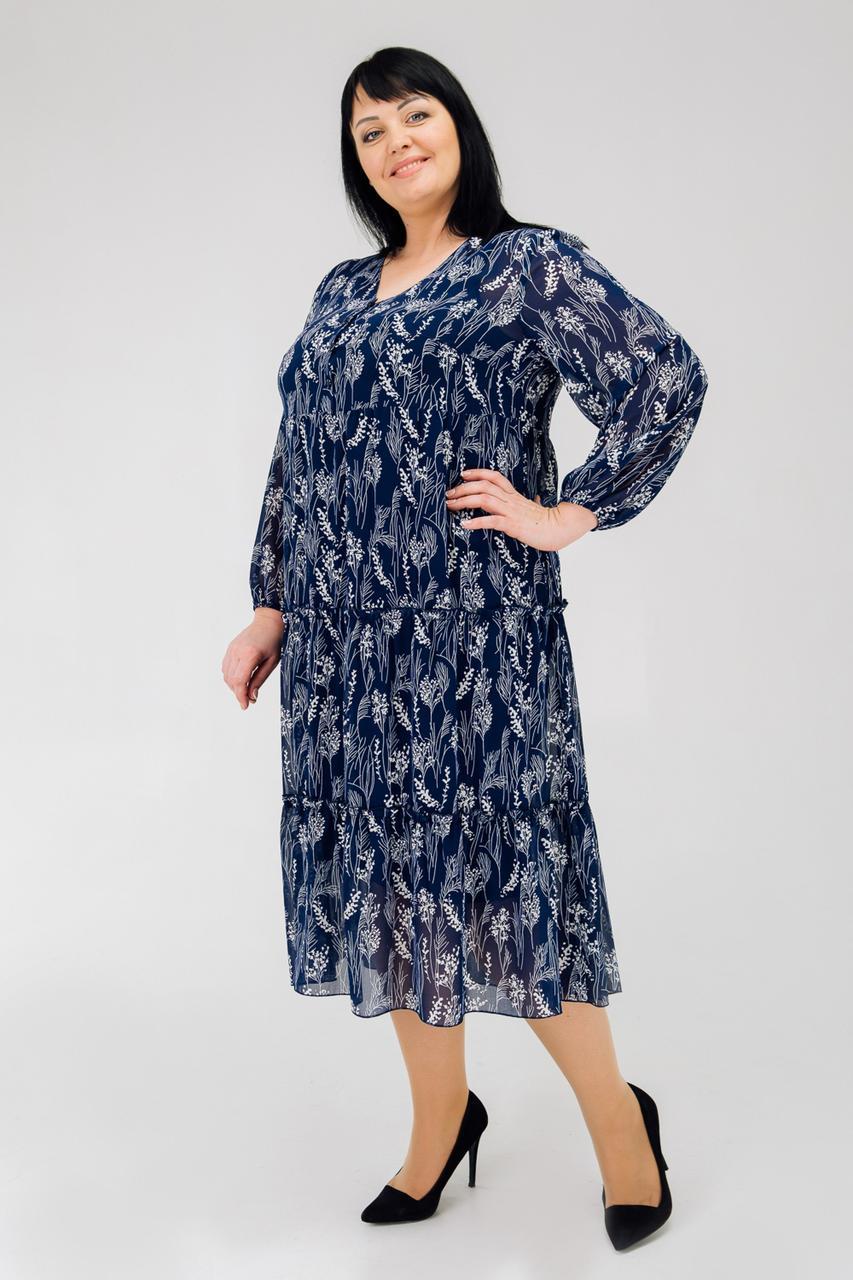 Шифоновое летнее платье синее