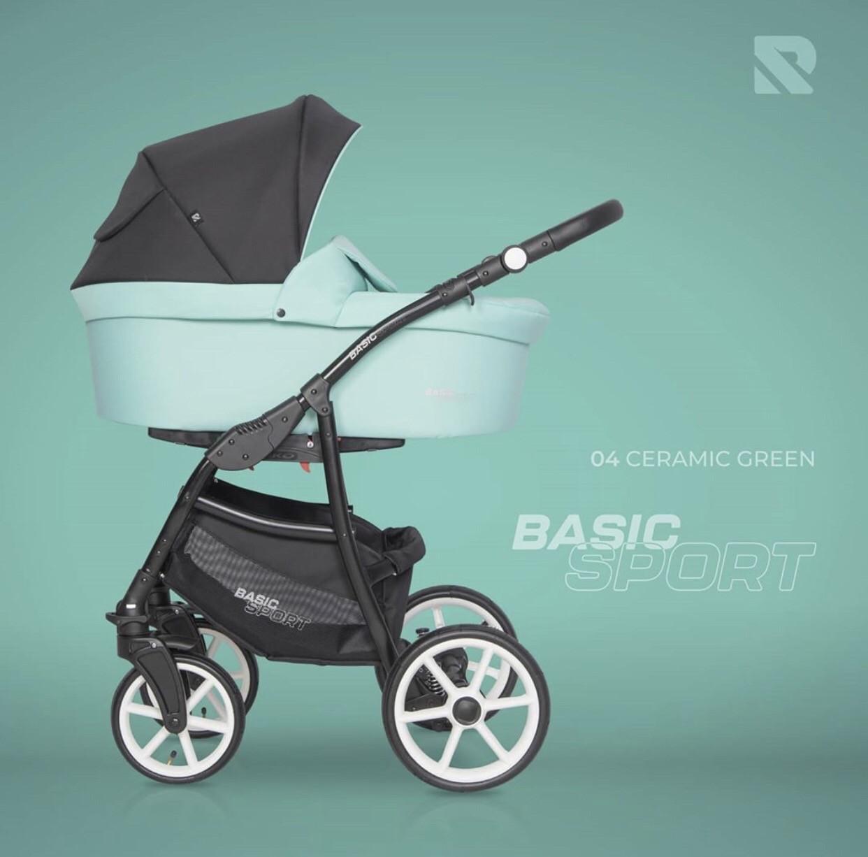 Детская универсальная коляска 2 в 1 Riko Basic Sport 04 Ceramic Green