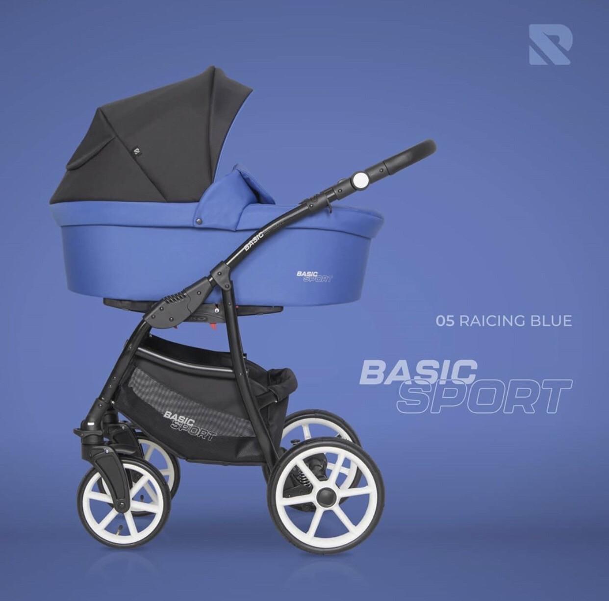 Детская универсальная коляска 2 в 1 Riko Basic Sport 05 Raicing Blue