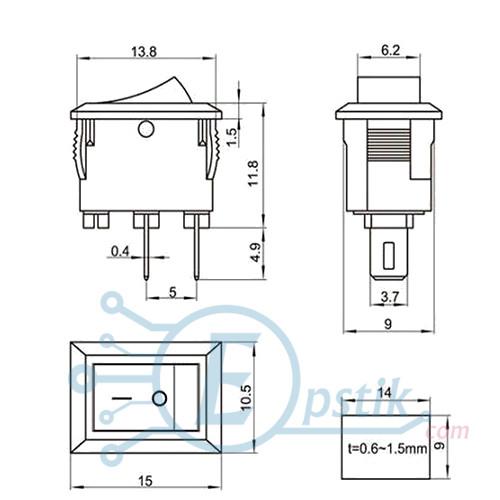 Переключатель 3A 250V, 2pin, (KCD1-11), белая