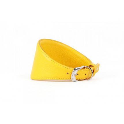 Ошейник Waudog Glamour для борзых, без украшения, ширина 15 мм, длина 26-32 см, желтый, фото 2