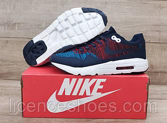 Сині з червоним чоловічі кросівки Nike Air Max 1 Flyknit. РОЗПРОДАЖ