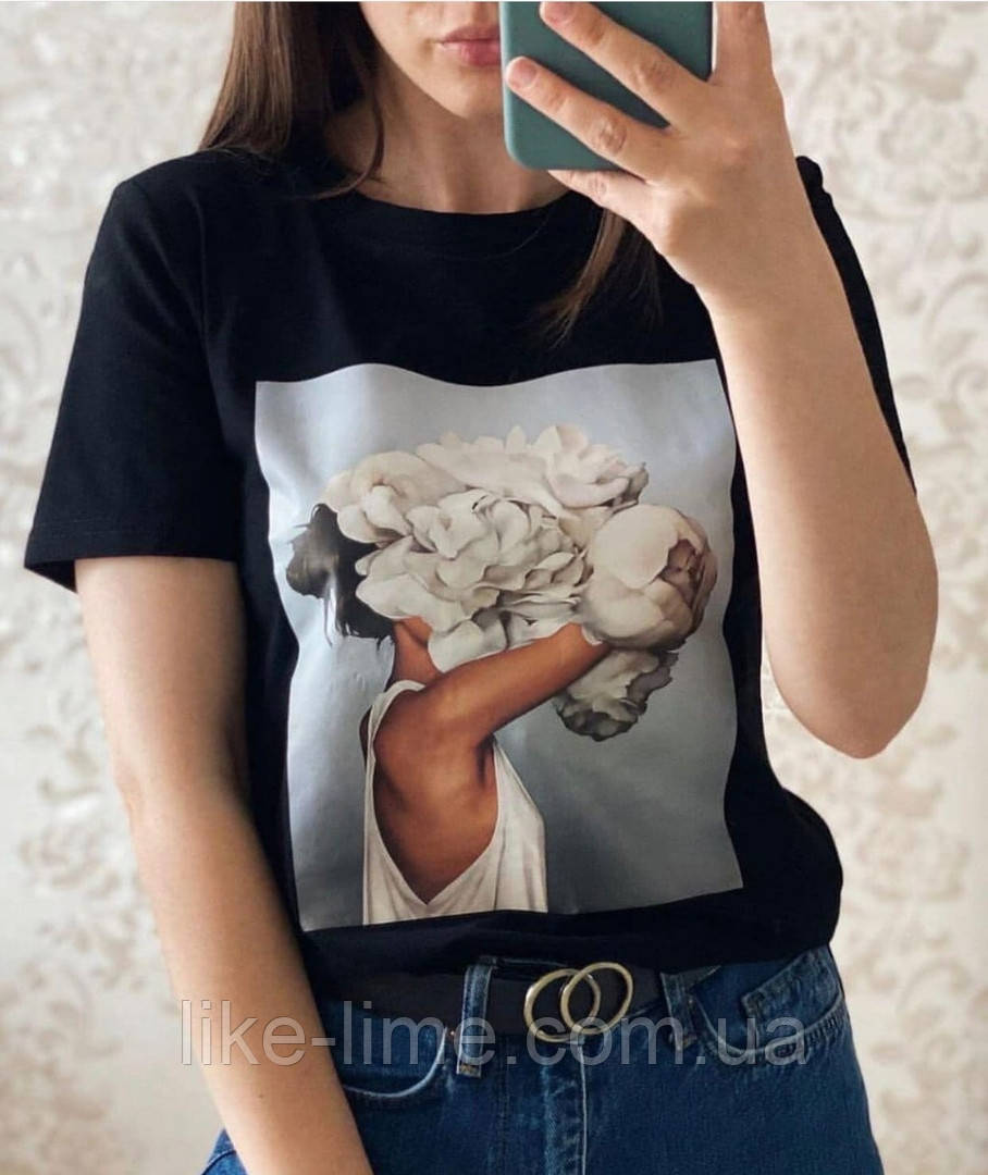 Женская стильная футболка,красивая футболка Пион