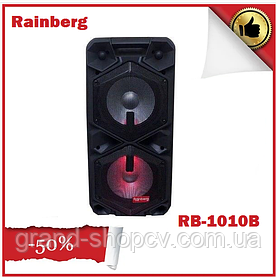 Колонка аккумуляторная с микрофоном Rainberg RB-1010B 200W X-BASS (Bluetooth/USB/FM)