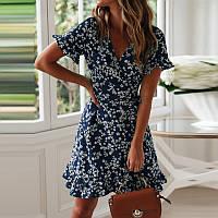 Платье женское летнее короткое на запах с воланами в мелкий цветочек (синее)