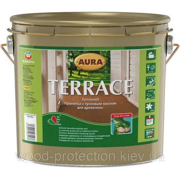 Декоративно-защитное масло для наружных деревянных поверхностей Aura Terrace 2,7л. (коричневый)