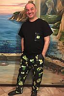 Мужская черная пижама Pijama po fanu брюки и футболка Кактусы BLACK 46-58 (S-4XL)