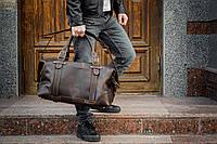 Коричневая дорожная сумка с ручками, Прочная мужская кожаная дорожная сумка