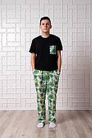 Мужская пижама Pijama po fanu брюки и футболка Тропики BLACK 46 48 50 52 54 56 58 (S-4XL)