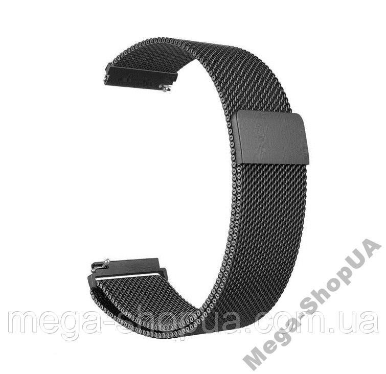 Ремешок металлический 22 мм Milanese Magnetic миланская петля для часов шириной Черный