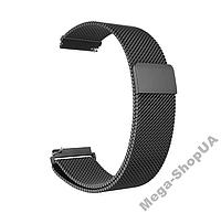 Металлический ремешок браслет для часов миланская петля Smart Watch 22 мм Черный. Ремінець для годинника 22mm