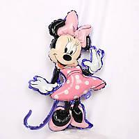 Воздушный шар из фольги фигура минни маус в розовом платье 47*80 см