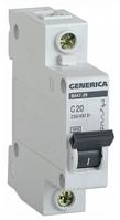 Автоматический выключатель ВА47-29 1Р 20А 4,5кА х-ка С GENERICA MVA25-1-020-C
