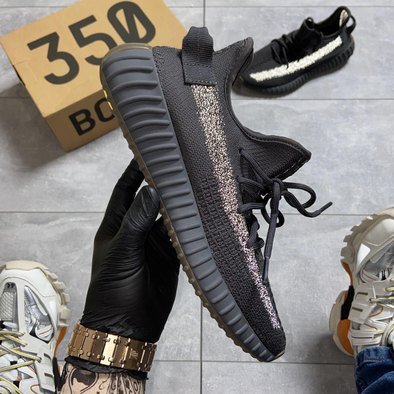 Кроссовки Adidas Yeezy Boost 350 V2 Cinder черные рефлектив 🔥 Адидас мужские кроссовки рефлективные 🔥