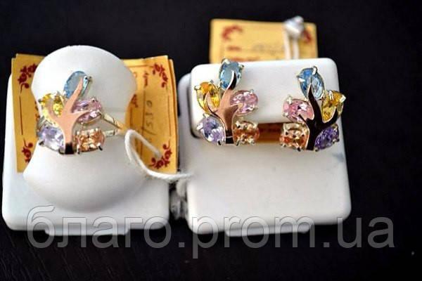 """Серебряный комплект """"Дерево счастья"""" кольцо и серьги с золотыми накладками женский, фото 1"""