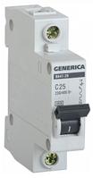 Автоматический выключатель ВА47-29 1Р 25А 4,5кА х-ка С GENERICA MVA25-1-025-C