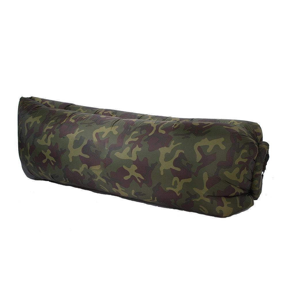 Надувной лежак, шезлонг, диван, мешок, матрас Ламзак с карманом + Чехол (камуфляж) (5698) #S/O