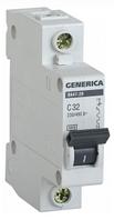 Автоматический выключатель ВА47-29 1Р 32А 4,5кА х-ка С GENERICA MVA25-1-032-C