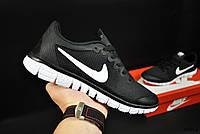 Кроссовки мужские черные реплика Nike Free Run 3.0 текстиль код 20804, фото 1