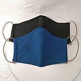 Многоразовая 3 слойная защитная тканевая маска, маска для лица многоразовая унисекс мужская детская женская, фото 2