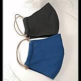 Многоразовая 3 слойная защитная тканевая маска, маска для лица многоразовая унисекс мужская детская женская, фото 4