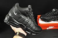 Кроссовки зимние мужские черные реплика Nike Air Max 95 код 20677, фото 1