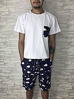 Чоловічий домашній костюм PPF Хмарки, футболка+шорти S-4XL / мужская пижама шорты и футболка Тучки