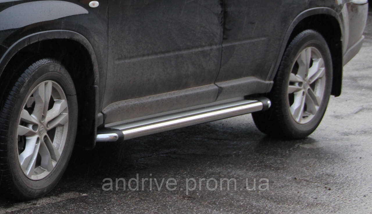 Пороги боковые (подножки-площадка) Nissan Pathfinder 2005-2013 (Ø51)