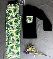 Жіночий домашній костюм PPF Тропіки BLACK, кофта+брюки XS-4XL / женская пижама кофта+брюки Тропики