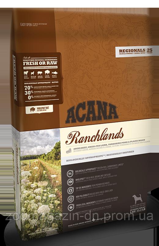 Cухой корм Acana RANCHLANDS для собак всех пород и возрастов, на основе красного мяса и рыбы, 6 кг