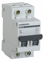 Автоматический выключатель ВА47-29 2Р 6А 4,5кА х-ка С GENERICA MVA25-2-006-C