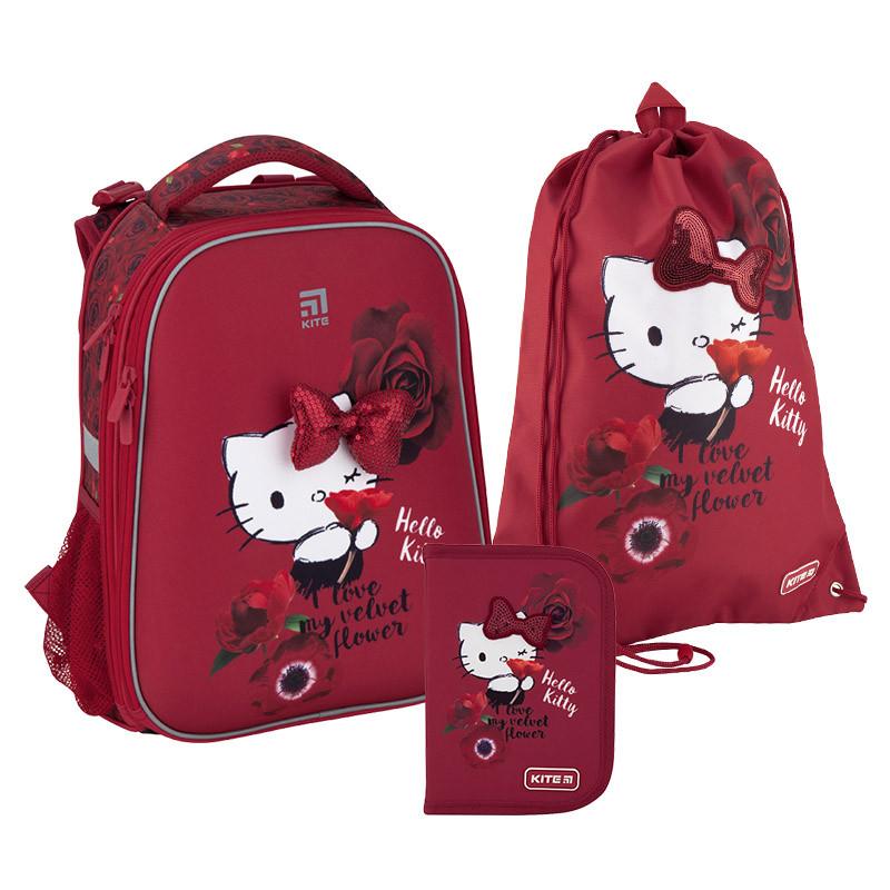 Рюкзак укомплектованный Kite Education Hello Kitty Бордовый (SET_HK20-531M)