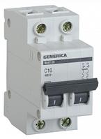Автоматический выключатель ВА47-29 2Р 10А 4,5кА х-ка С GENERICA MVA25-2-010-C