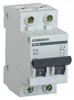 Автоматический выключатель ВА47-29 2Р 16А 4,5кА х-ка С GENERICA MVA25-2-016-C